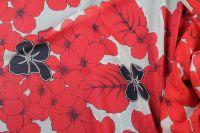 ткань шифон с цветами шифон шелк цветы красная Италия