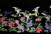 ткань вышитый бархат бархат вискоза цветы черная Италия