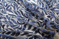 ткань вышитая сетка сетка вискоза цветы синяя Италия
