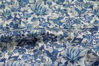 ткань сатин с эластаном сатин хлопок цветы синяя Италия