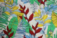 ткань хлопок с пальмовыми листья поплин хлопок цветы белая Италия