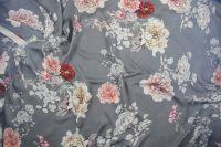 ткань шармуз с цветами шармюз шелк цветы серая Италия