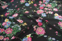 ткань черный крепдешин с цветами крепдешин шелк цветы черная Италия