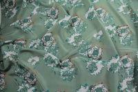 ткань зеленый крепдешин с цветами крепдешин шелк цветы зеленая Италия