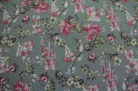 ткань серый крепдешин с цветами крепдешин шелк цветы серая Италия