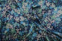 ткань синий атлас с цветами Валентино атлас шелк цветы синяя Италия