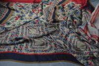 ткань твил с цветочками твил вискоза цветы разноцветная Италия