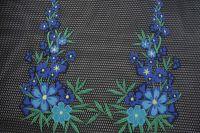 ткань вышитая сетка PAROSH сетка полиэстер цветы черная Италия