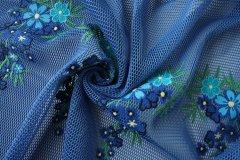 ткань сетка вышитая PAROSH сетка полиэстер цветы синяя Италия