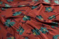 ткань шелк Марни с цветами креп шелк цветы коричневая Италия