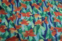 ткань креповый шелк с цветами креп шелк цветы синяя Италия