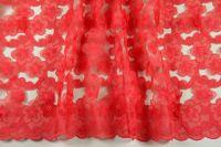ткань Красная органза с фактурными цветами (нашитыми цветами) органза полиэстер цветы красная Италия