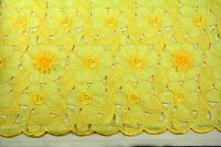 ткань Желтая органза с фактурными цветами (нашитыми цветами) органза полиэстер цветы желтая Италия