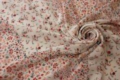 ткань шелк в мелкий цветочек крепдешин шелк цветы белая Италия