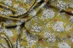 ткань атласная вискоза оливкового цвета атлас вискоза цветы зеленая Италия