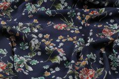ткань синее кади с цветами кади вискоза цветы синяя Италия