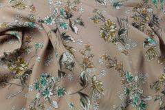 ткань бежевое кади с цветами кади вискоза цветы бежевая Италия