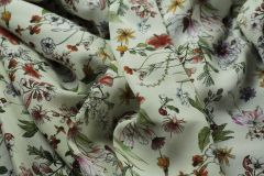 ткань кади с принтом флорал кади вискоза цветы белая Италия