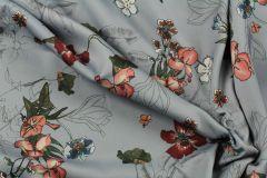 ткань серое кади с цветами кади полиэстер цветы серая Италия