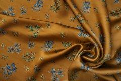 ткань атлас Mulberry атлас вискоза цветы коричневая Италия