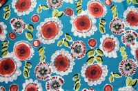 ткань шелк SEMI-COUTURE крепдешин шелк цветы зеленая Италия