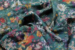 ткань атласная вискоза атлас вискоза цветы зеленая Италия