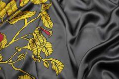 ткань атлас с цветами у кромки атлас шелк цветы серая Италия