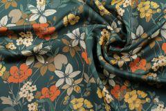ткань зеленый твил с цветами MARNI твил шелк цветы зеленая Италия