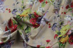 ткань плательная шерсть с цветочным рисунком костюмно-плательная шерсть цветы бежевая Италия
