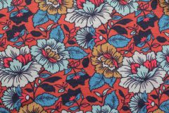 ткань тонкий шерстяной трикотаж трикотаж шерсть цветы красная Италия