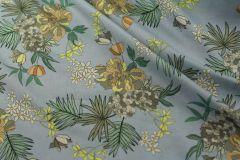 ткань плательная вискоза сорочечная вискоза цветы голубая Италия