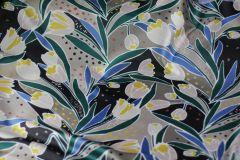 ткань атлас с тюльпанами ROCHAS атлас смесовый цветы разноцветная Италия