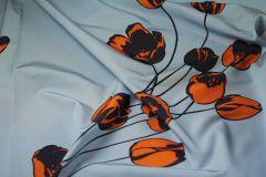ткань репсовая ткань с тюльпанами ROCHAS репсовая шелк цветы голубая Италия