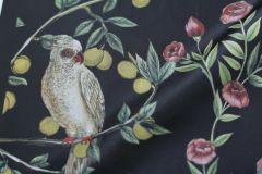 ткань плащевка с цветами, оливками и птичками плащевка полиэстер цветы черная Италия