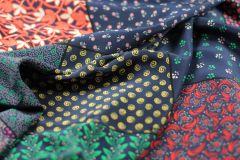 ткань шелк пэчворк креп шелк цветы разноцветная Италия