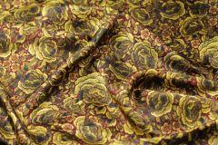 ткань подклад с розами подклад вискоза цветы бордовая Италия