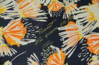 ткань твил VIONNET твил шелк цветы серая Италия