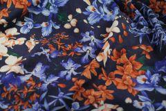 ткань синий лен с цветами костюмно-плательная лен цветы синяя Италия