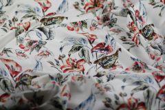 ткань плотный хлопок с цветами костюмно-плательная хлопок цветы белая Италия