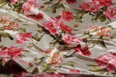 ткань атлас с цветами Ratti атлас хлопок цветы бежевая Италия