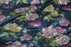 ткань атлас с крупными цветами атлас хлопок цветы синяя Италия