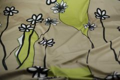 ткань сатин купон с цветами сатин хлопок цветы бежевая Италия