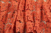 ткань кружево кружево вискоза цветы оранжевая Италия