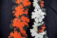 ткань двусторонний атлас атлас шелк цветы черная Италия