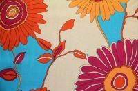 ткань шелк VDP шифон шелк цветы оранжевая Италия