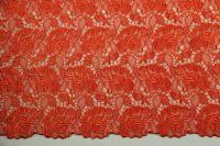 ткань кружево на шелке Escada кружево вискоза цветы красная Италия