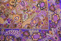 ткань платок Blumarine крепдешин шелк цветы фиолетовая Италия
