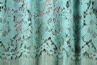 ткань кружево Valentino (Sophie Hallette) мятное кружево хлопок цветы голубая Италия