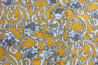 ткань сатин с цветами сатин хлопок цветы желтая Италия