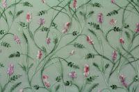 ткань сетка с вышитыми цветами сетка вискоза цветы зеленая Италия